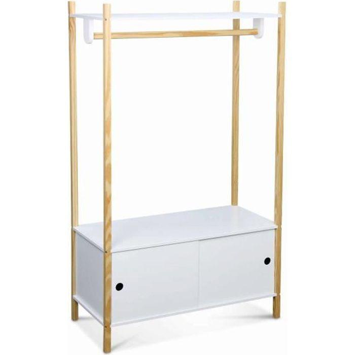 Penderie pour enfants - TOBIAS - deux portes coulissantes. bois massif en pin naturel blanc. 80X40X136.5CM
