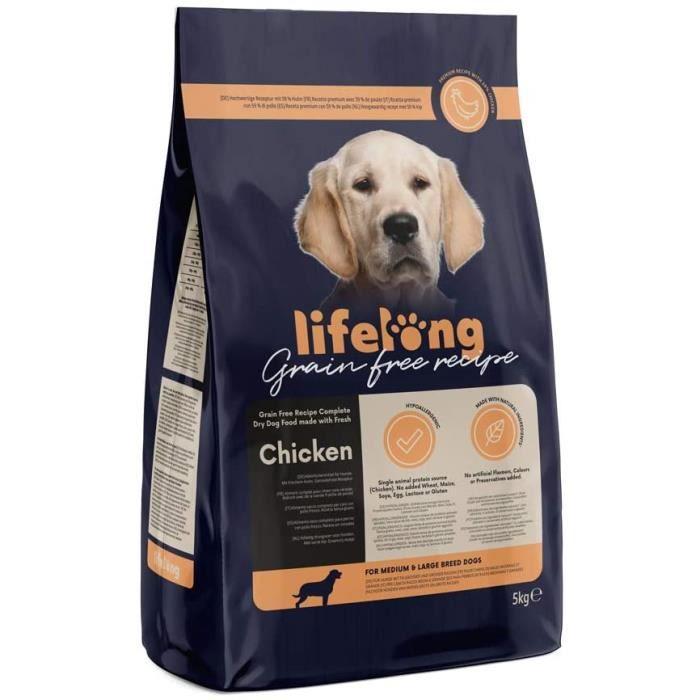 Marque Amazon - Lifelong Aliment complet pour chiens de races moyenne et grande sans céréale élaboré avec de la viande f 693810
