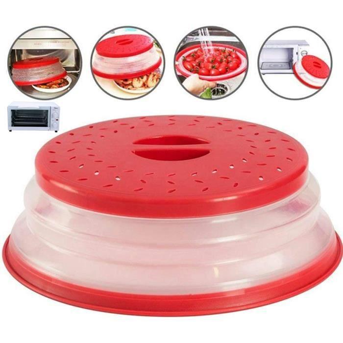 Cloche Micro-Ondes,pliable micro-onde plaque,Couvercle pliable de micro-onde passoire, sans BAP et non toxique (Rouge)