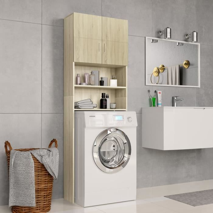 Meuble de machine à laver Armoire de rangement Meuble WC Salle de Bain Meuble pour Lave-Linge - Chêne Sonoma 64x25,5x190 cm
