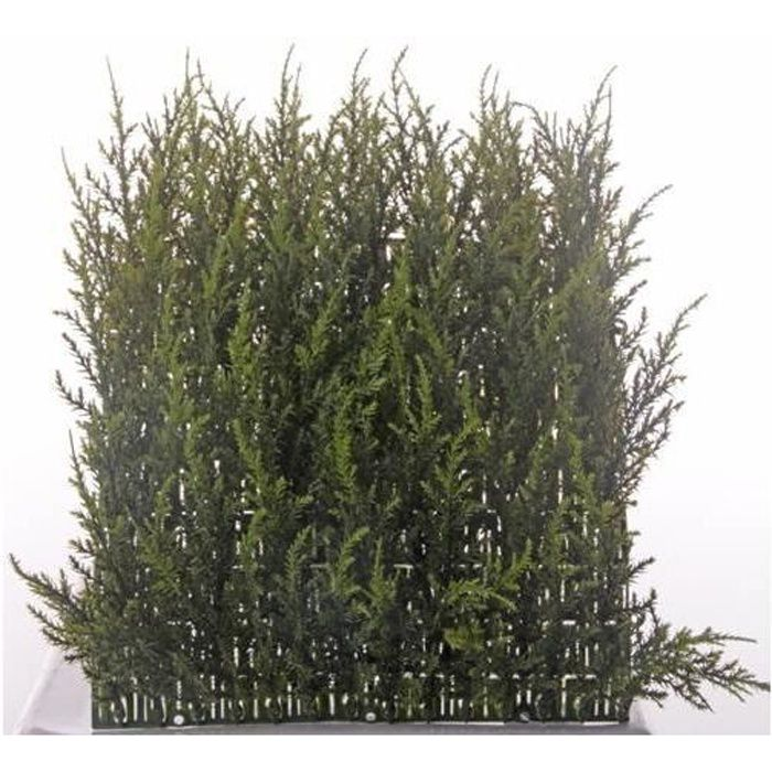 artplants Lot 2 x Plaque de cyprès artificielle NEOH, anti-uv, vert, 25x25cm - 2 pcs - Haie artificielle - Brise vue artificiel