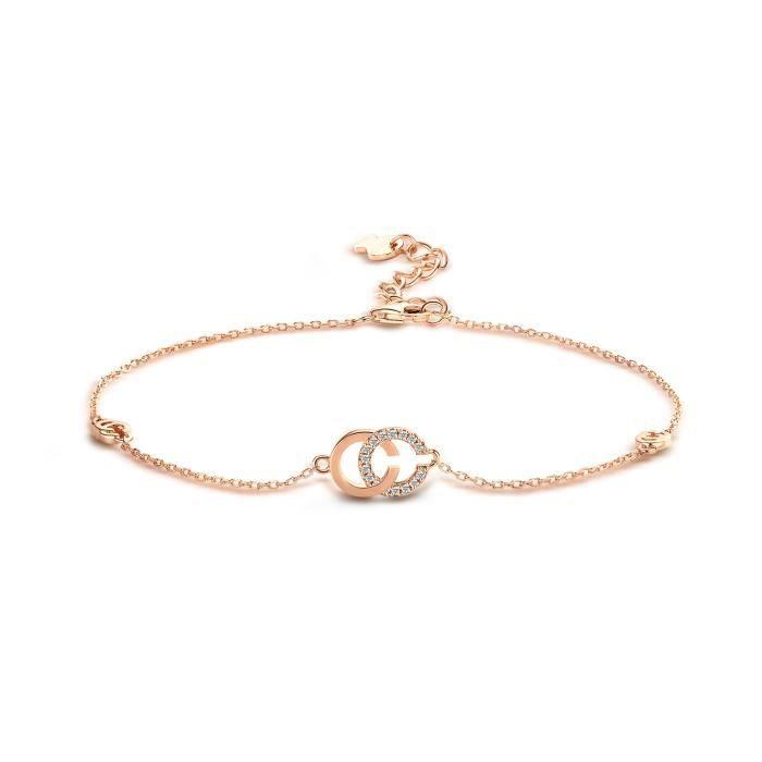 T400 Argent Sterling 925 Chaine de Cheville Or Rose pour Femme Chic&Cool Grand Bracelet avec Swarovski Element Cubic Zirconia Aju