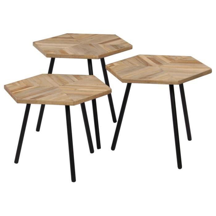 Ensemble de Lot de 3 Tables Basses Industrielle Moderne, pour Cuisine, Chambre et Salon - Hexagonal Teck recyclé