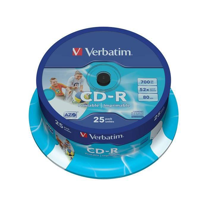 Verbatim Vb-crd19s2 PA – CD-RW Vierge (CD-R, 700 MB, 25 PC (s), 120 mm, 2.1 cm, 52 x)