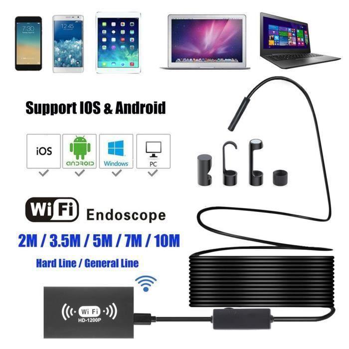 YPC110B-8mm endoscope d'inspection de Digital imperméabilisent portatif d'USB WiFi sans fil portatif câble dur 3.5 metres