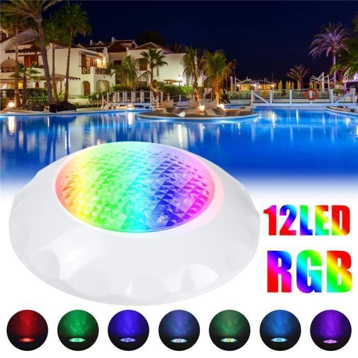 12W 24V Projecteur Lampe Luminaire Spot LED Couleur Changer Pour Piscine Sous-marines Avec Télécommande la38440