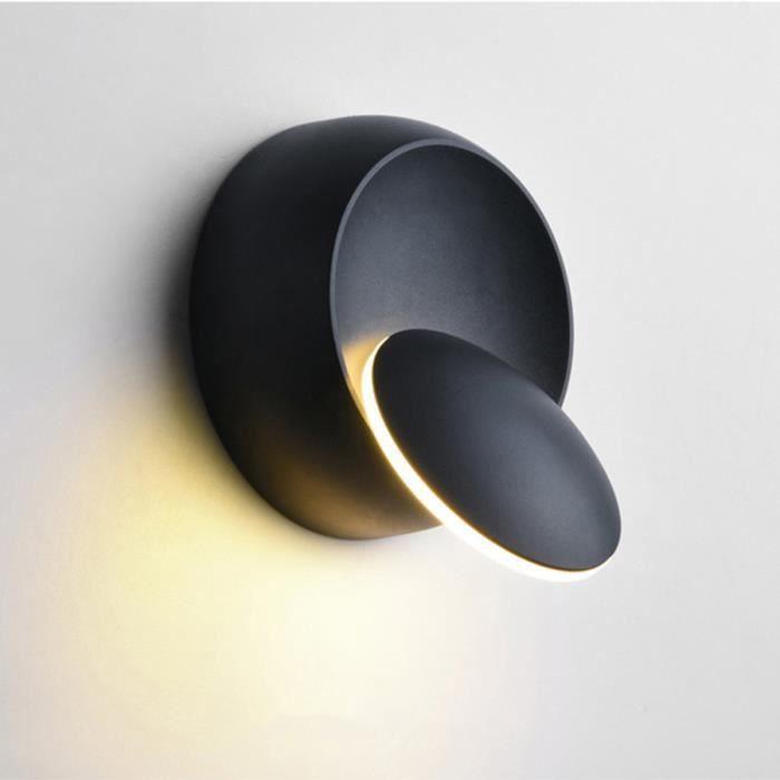 Applique Lampe murale Ronde 360° Rotation Moderne pour Chambre Salon Escalier Couloir lumière chaud noir