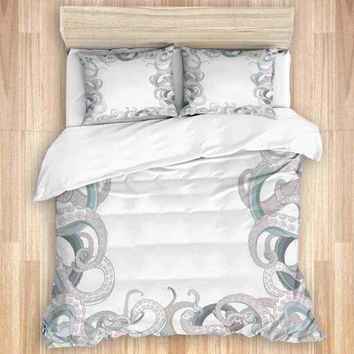 Parure de lit Set de Housse de Couette-Fond de tentacules de Poulpe Aquatiques sous la mer Art Illustration - 140x200cm[308]