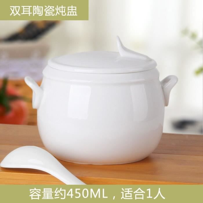 Marmites et soupières,Tasse à ragoût en porcelaine tasse à soupe japonaise bol à soupe en porcelaine Pot à ragoût - Type White stew
