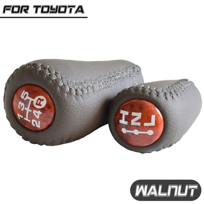 Pièces Auto,Pommeau de levier de vitesse de voiture pour Toyota Land Cruiser Prado 120 2003 2009 bouton de levier - Type Walnut-Set