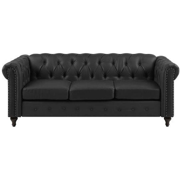 Beliani - Canapé 3 places en simili-cuir noir CHESTERFIELD