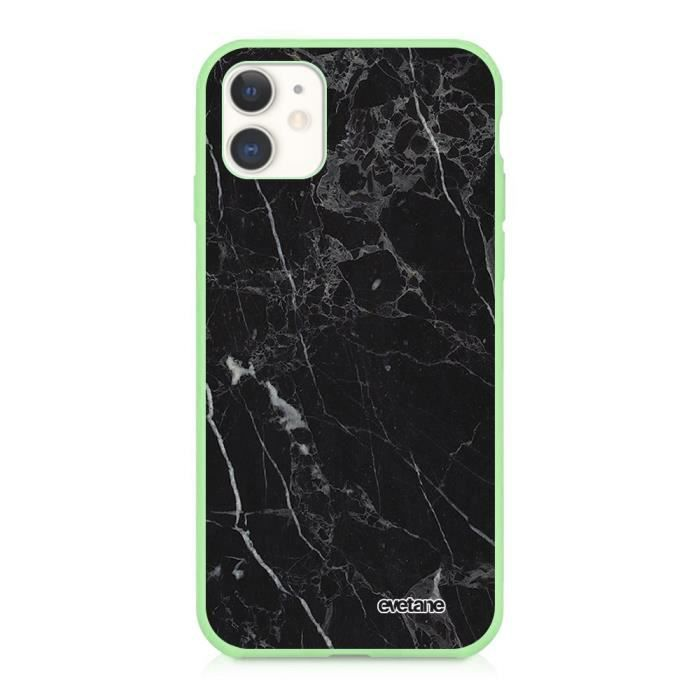 Coque iPhone 11 Silicone Liquide Douce vert pâle Marbre noir Ecriture Tendance et Design Evetane