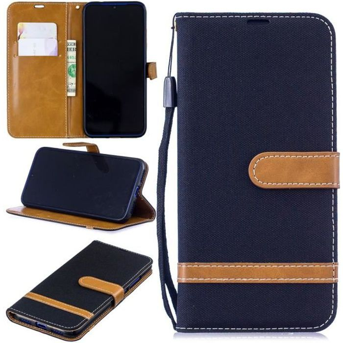 Xiaomi Redmi Note 7 Portefeuille Noir Coque Housse Etui En Cuir Pu hfs-house®