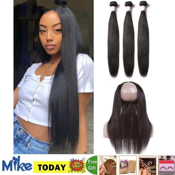 3 paquet 22.24.26- Péruviennes cheveux naturels LISSE Avec Lace Frontal Closure 360 Cheveux Naturels 18-closure