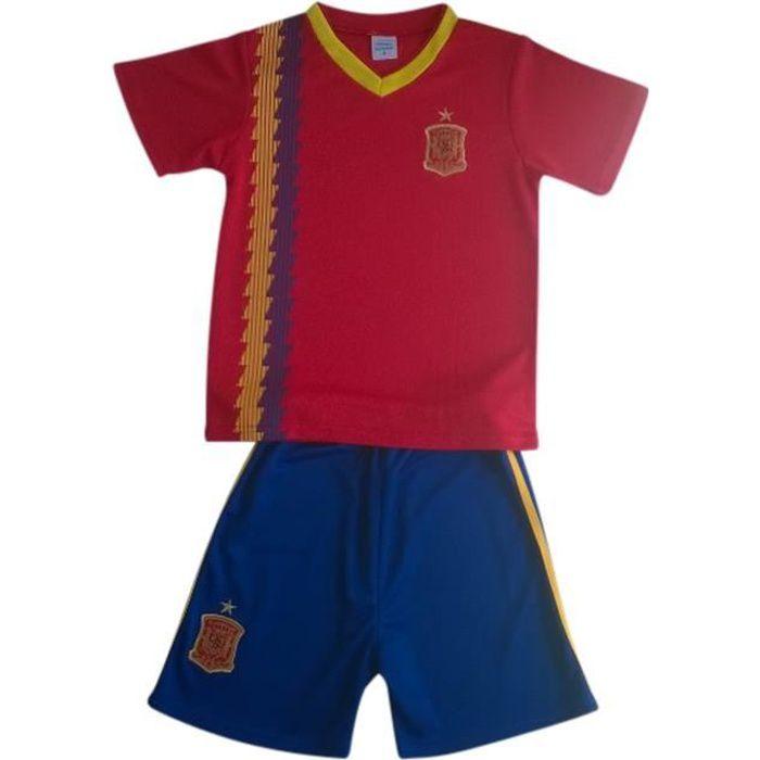 Ensemble De Vetements De Football - Tenue De Football - NPZ - Ensemble short et maillot de foot Espagne  Taille de 4 à 14 ans