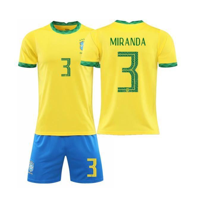 3S2021 nouveau maillot de l'équipe nationale de football du Brésil n°10 Maillot bleu de Neymar adulte enfants maison Jaune