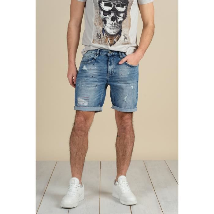 DEELUXE Short en jean coupe droite TOM Stone Used