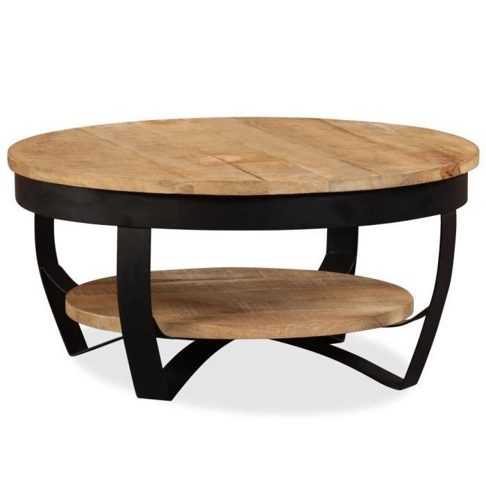 Table basse style industriel Bois massif de manguier 65 x 32 cm