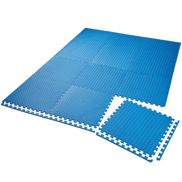 TECTAKE Tapis de Sol de Gym Sport avec 12 Dalles de Protection en Mousse 61 cm x 61 cm Bleu