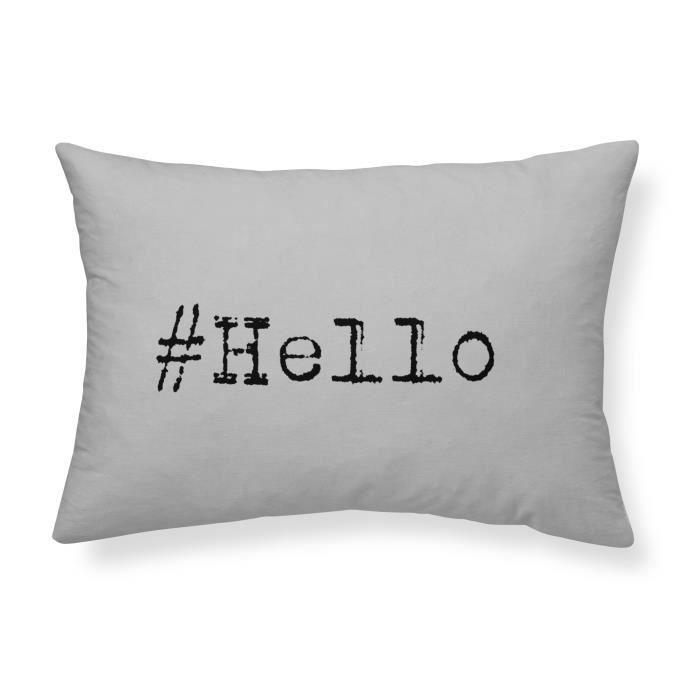 TODAY Coussin coton lavé Hello - 30 x 70 cm - Gris clair