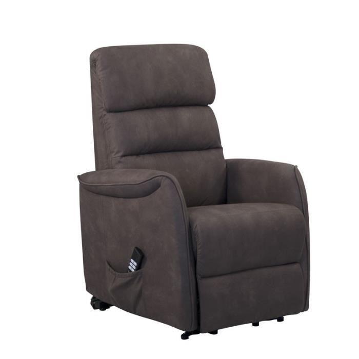 Fauteuil Relax Releveur électrique Brun - SOFTY - L 80 x l 90-165 x H 107-80 cm