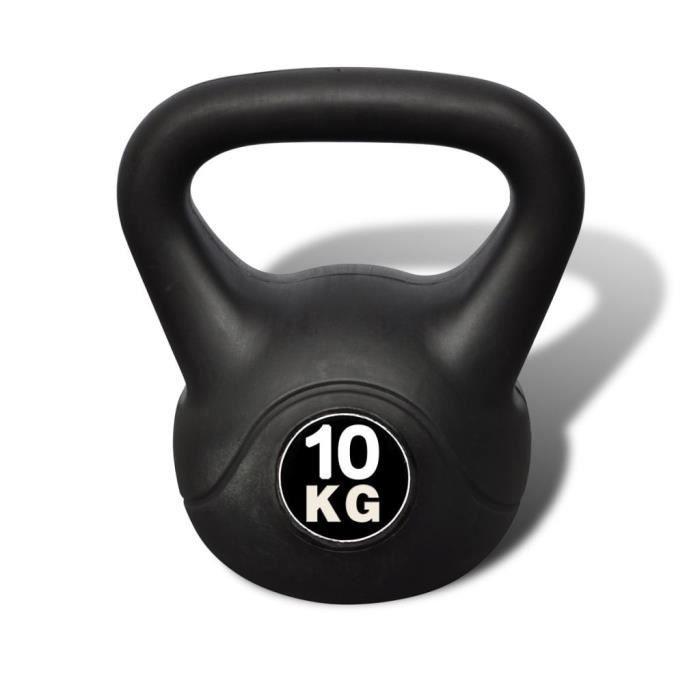 Kettlebell Girevoy haltère de 10 kg en ciment et plastique 21 x 21 x 30 cm NOIR