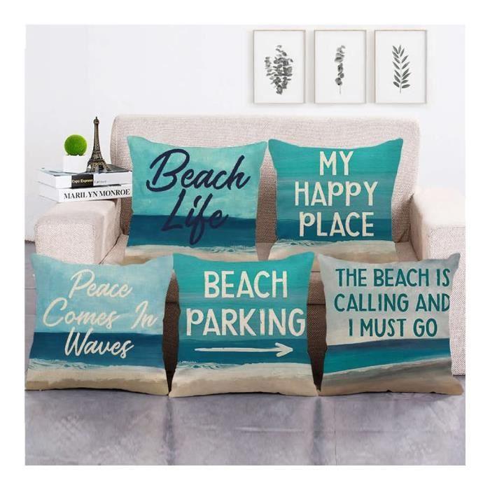 5 pcs Housses de coussin en tissu imprimé 45x45 cm pour Décoration du Accueil Hotel Festival #2436 Paysages de bord de mer