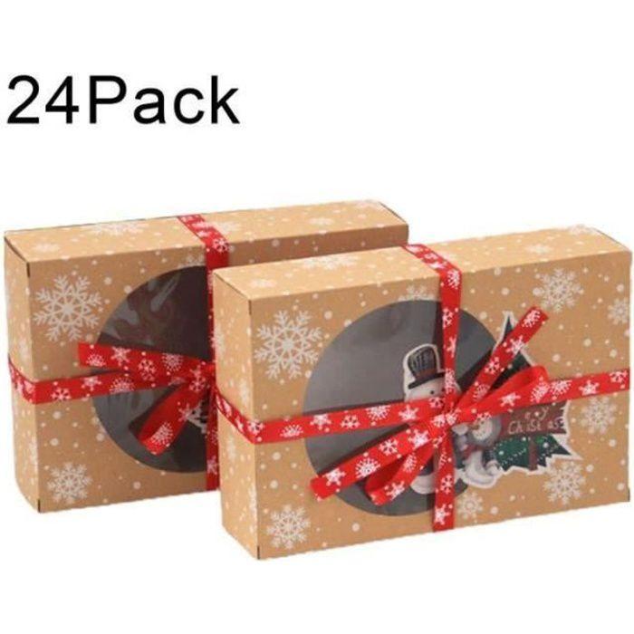 ZS25473-Lot de 24 boîtes à biscuits de Noël avec fenêtre de visualisation