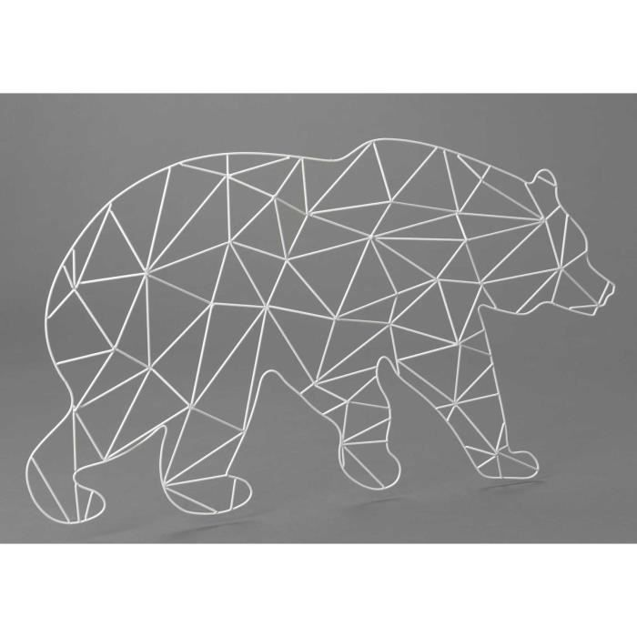 D coration murale ours blanc en m tal achat vente for Decoration murale en metal