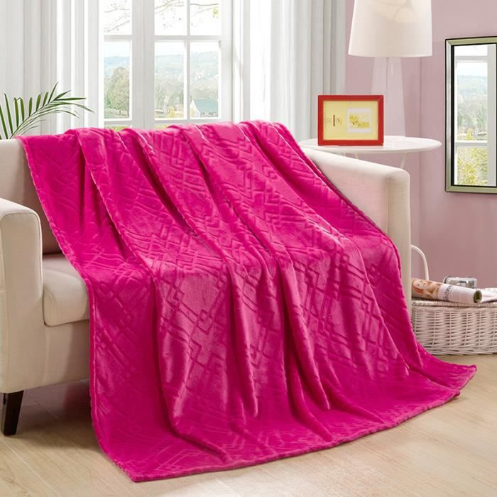 couverture plaid polaire 120cm x 200cm coloris fuchsia pour une personne achat vente. Black Bedroom Furniture Sets. Home Design Ideas
