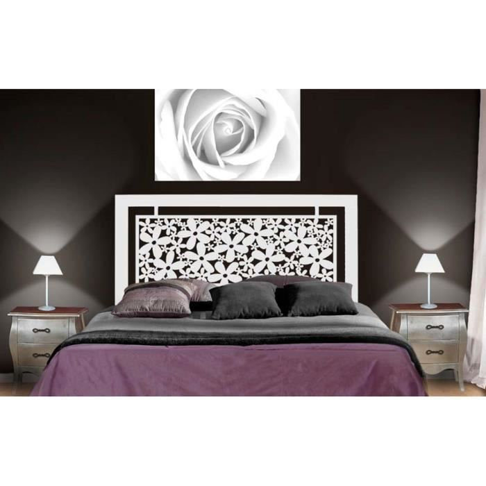 t te de lit en fer forg mod le fleurs achat vente t te de lit cdiscount. Black Bedroom Furniture Sets. Home Design Ideas