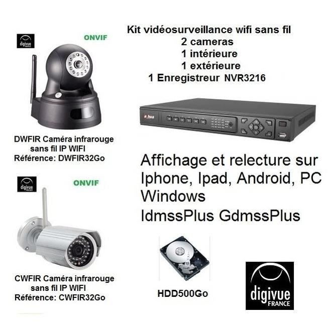 kit vid osurveillance wifi sans fil 2 cam ras kit vid osurveillance wifi sans fil compos de 2. Black Bedroom Furniture Sets. Home Design Ideas