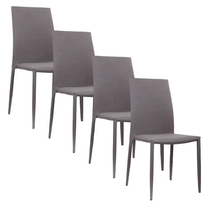 lot de 4 chaises moderne gris en tissu achat vente chaise tissu polyur thane cdiscount. Black Bedroom Furniture Sets. Home Design Ideas
