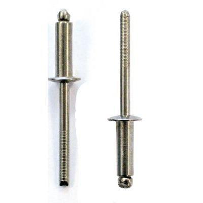 100 Rivets pop alu acier t/ête plate diam/ètre 4 mm longueur 10 mm