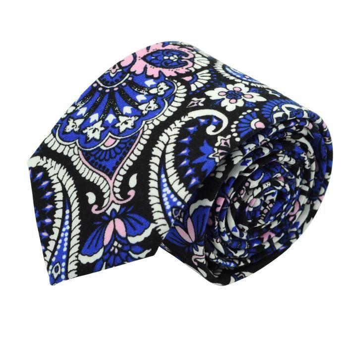Bleu jean à fleurs Cravate Liberty homme Coton-Lin Massiliano Sergio