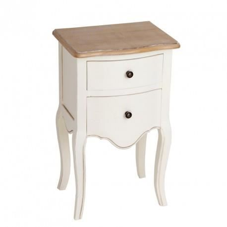 Table de chevet romantique 2 tiroirs en bois cr me naturel for Table de chevet noire