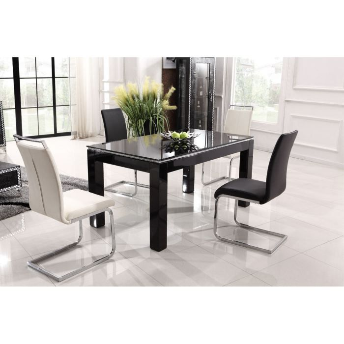 table a manger noire laquee. Black Bedroom Furniture Sets. Home Design Ideas