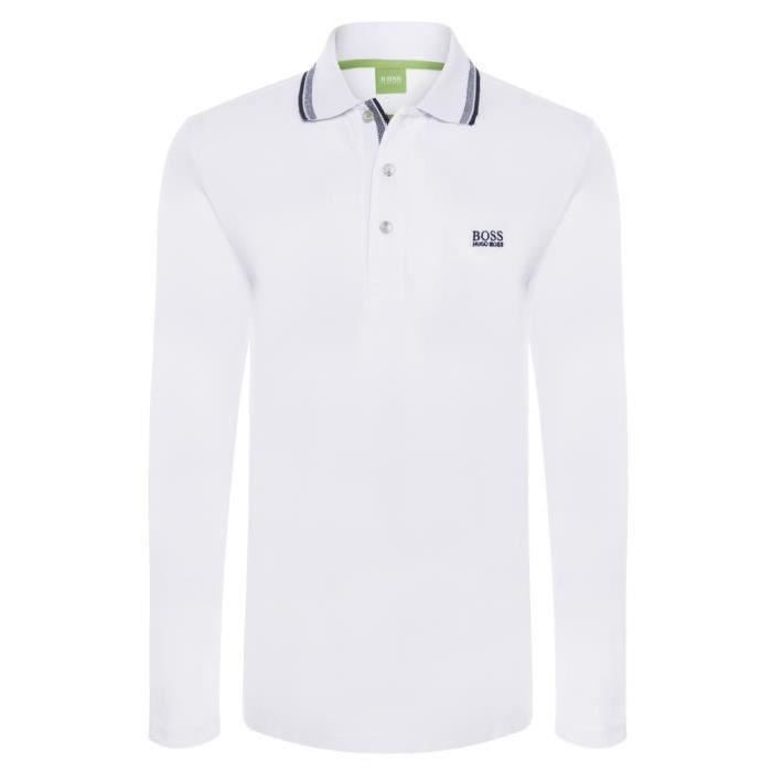 POLO HUGO BOSS HOMME MANCHES LONGUES Blanc BLANC - Achat   Vente ... 5f253018d2fe