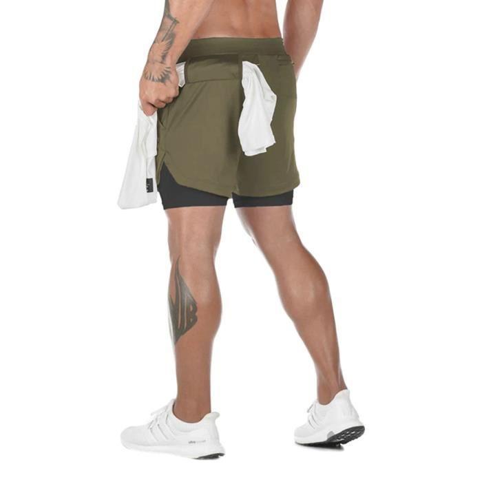 Festnight Short de Running Homme 2 en 1 /à s/échage Rapide Respirant Exercice dentra/înement Actif Short de Jogging Marathon