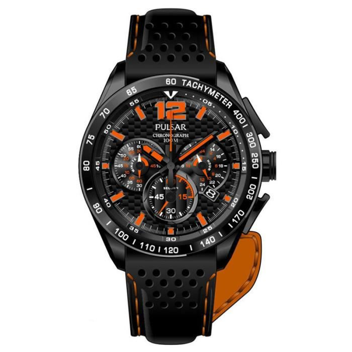 montre pulsar racing chrono homme noir sport achat vente montre bague cdiscount. Black Bedroom Furniture Sets. Home Design Ideas