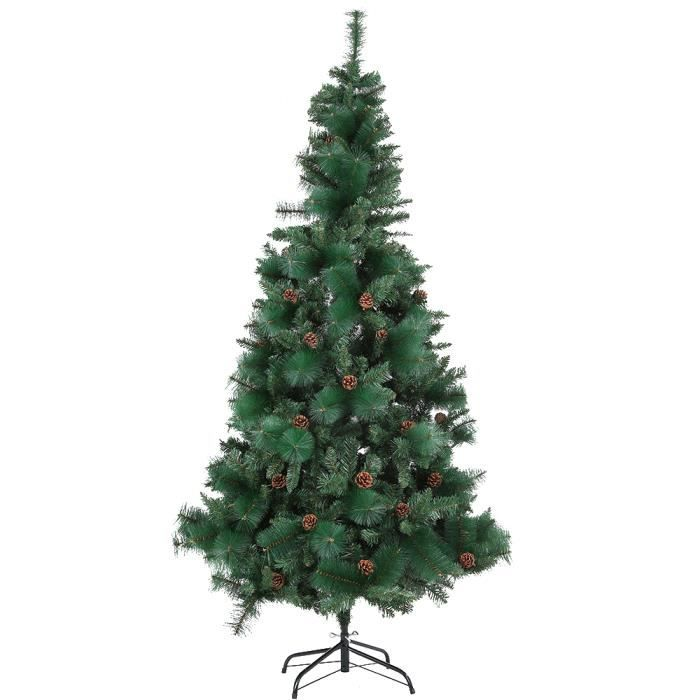 7ft arbre de no l sapin automatique en pvc avec pinecone. Black Bedroom Furniture Sets. Home Design Ideas