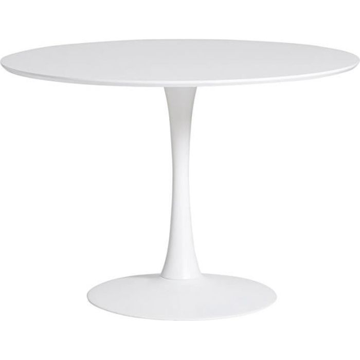Table De Repas Ronde Blanche Pied Central Still L 110 X L 110 X