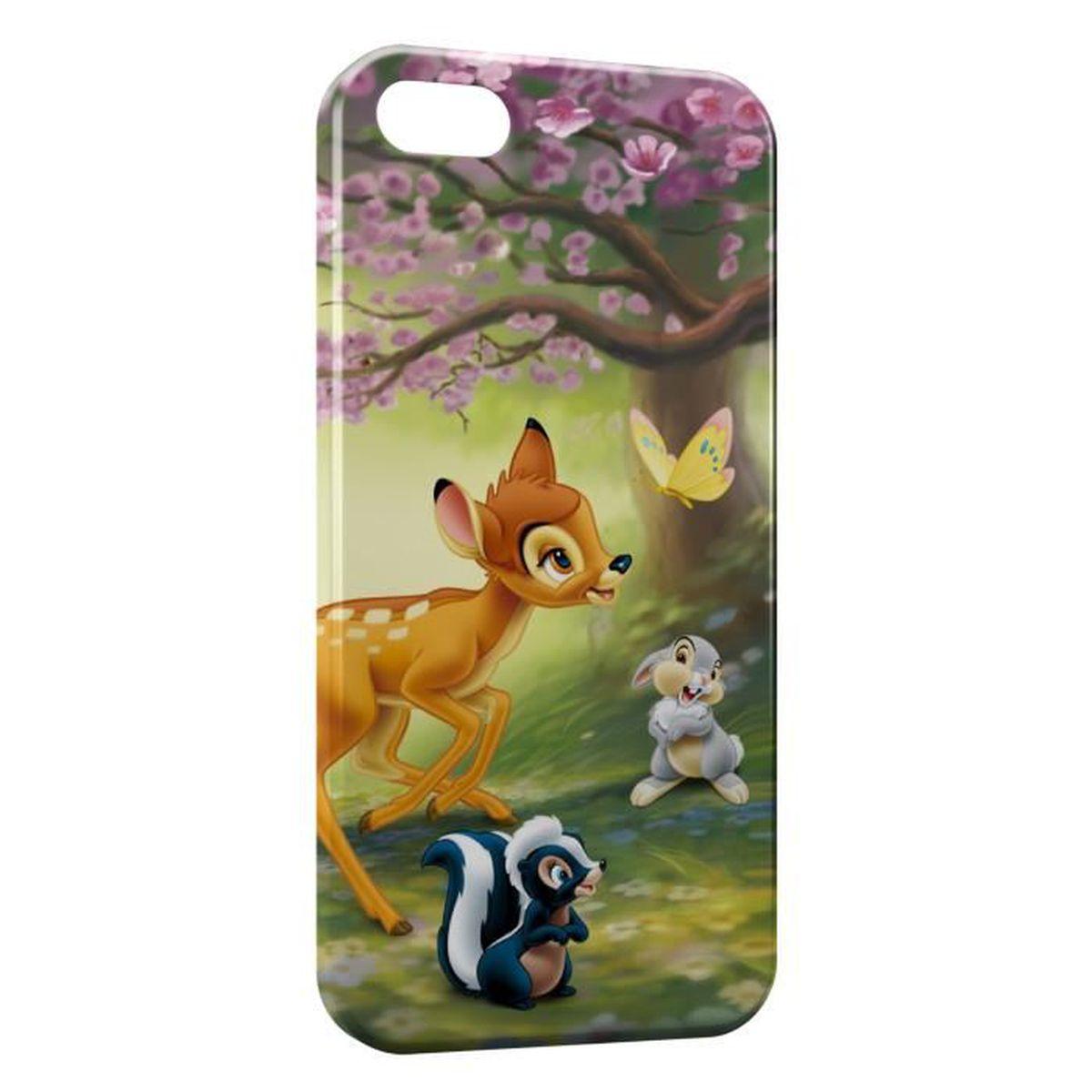 Coque iPhone 5 & 5S Bambi Panpan Fleur Papillon - Cdiscount Téléphonie