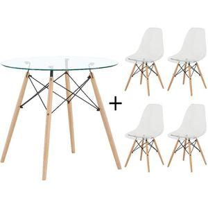 TABLE DE CUISINE  Dora Ensemble Complet Verre Table et 4 Transparent