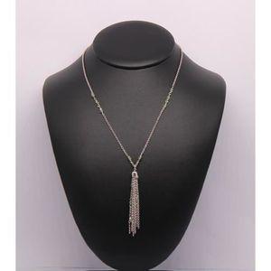 CHAINE DE COU SEULE Sautoir en Argent 925/1000 Perles transparentes ve