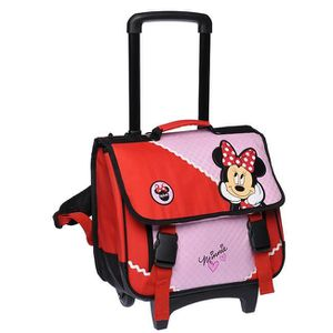 CARTABLE Cartable Minnie 38cm à roulettes rose et rouge
