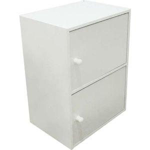 PETIT MEUBLE RANGEMENT  Bloc de rangement 2 portes blanc  54x40x29cm