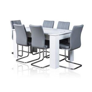 TABLE À MANGER COMPLÈTE Table extensible Lino + 6 chaises sidney grises