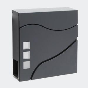 Boite lettres moderne Design V24 Anthracite Fixation murale rev/êtue poudre Compartiment journal