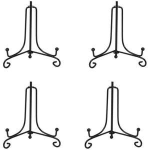 Assiettes d/écoratives Cadres pour Image Tableaux et pi/èces d/'Art-3x3 HCHLQLZ Lot de 4 M/étal Or chevalets Porte Assiette Pr/ésentoirs D/écoratifs en pour Photo
